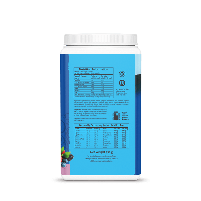 Warrior Blend Berry  750g ingredients