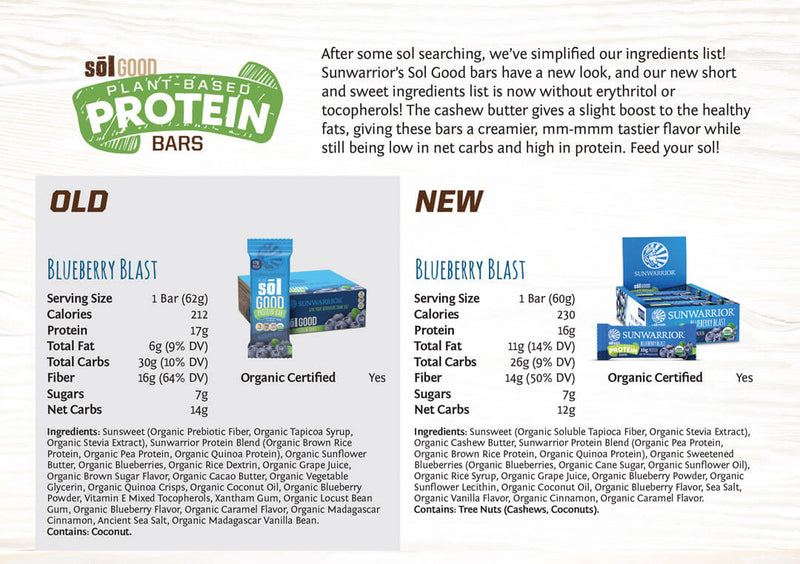 Blueberry Blast protein bars comparison old vs new