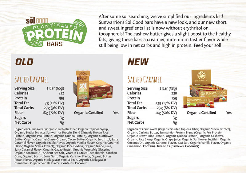 Salted Caramel protein bars comparison old vs new