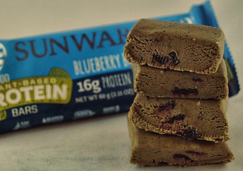 Blueberry Blast single protein bar unwrapped four pieces closeup