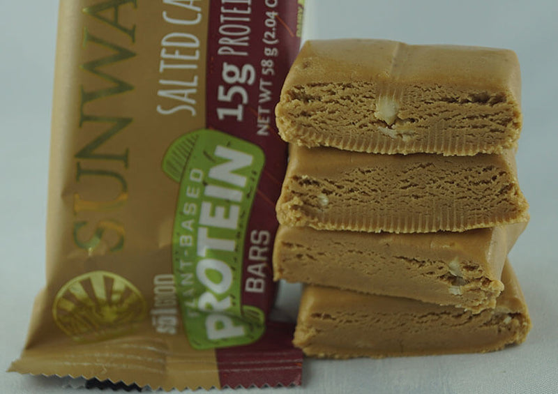 Salted Caramel single protein bar unwrapped 4 pieces closeup