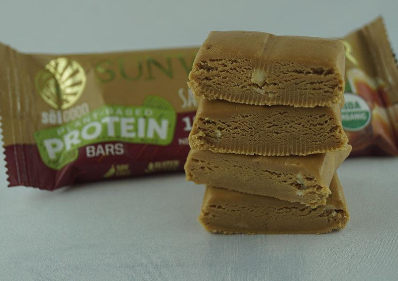 Salted Caramel single protein bar unwrapped pieces