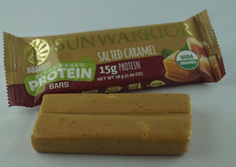 Salted Caramel single protein bar unwrapped