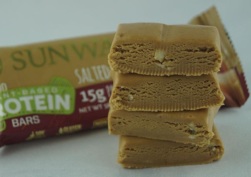 Salted Caramel single protein bar unwrapped pieces closeup