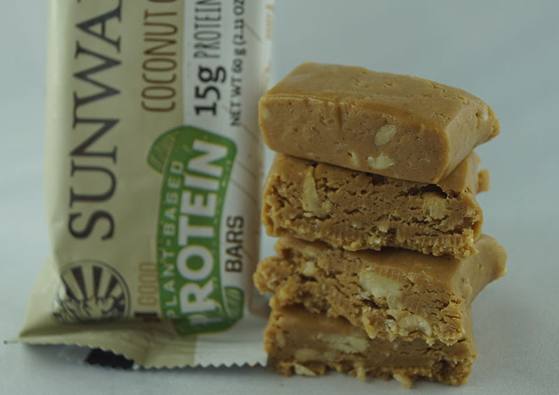 Coconut Cashew single protein bar unwrapped 4 pieces closeup