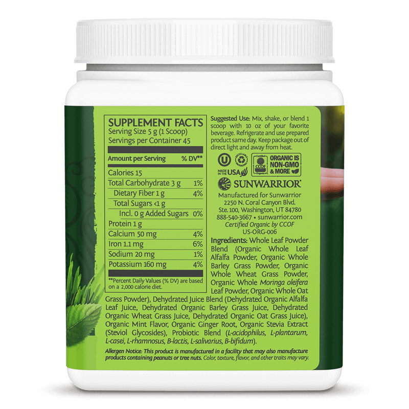Ormus Supergreens Mint 225g ingredients