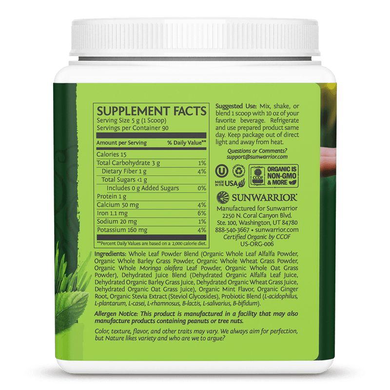SuperGreens Mint 450g ingredients