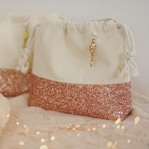 Rose Gold glitter canvas project bag- Smaller Size
