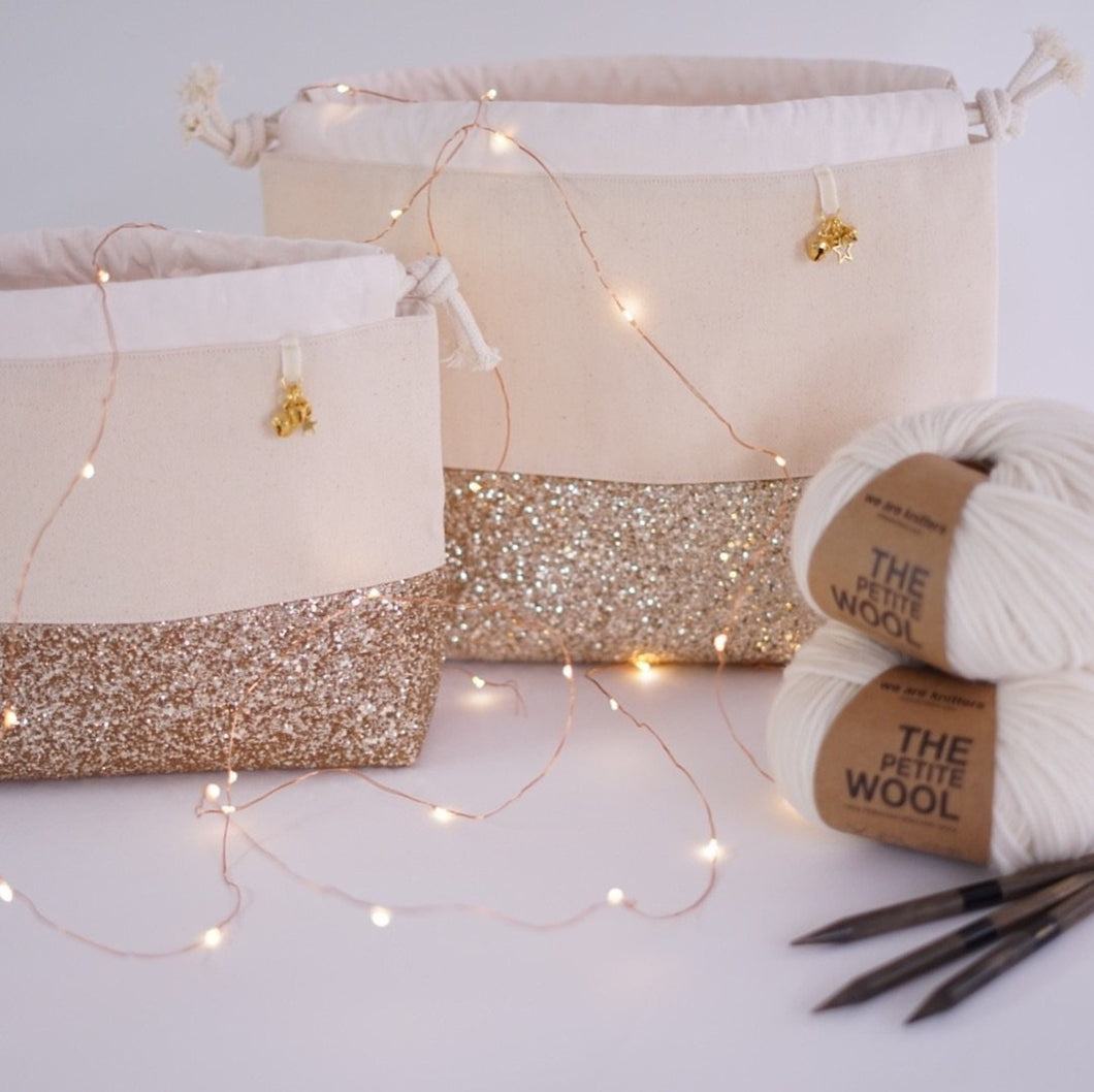 Gold glitter canvas project bag for sweaters and blankets