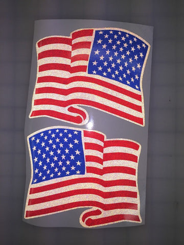 "American Waving Flag: 10"" Dark Subdued 3M Reflective Decal Stickers (x2)"