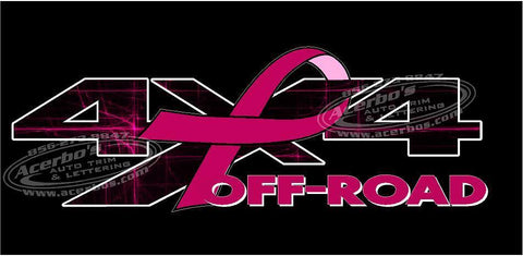 4x4 Off Road PINK Breast Cancer Ribbon TRUCK USA Decal/Sticker Set of 2