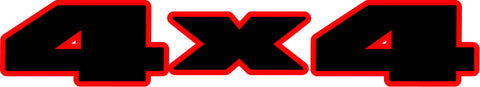 4x4 Red Outline Decal Stickers for ALL Jeep Models (x2)