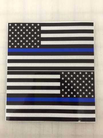 "5"" American Flag (Blue Line) 3M REFLECTIVE Decal set"