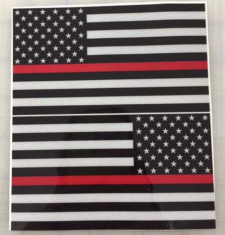 "5"" American Flag (Red Line) 3M REFLECTIVE Decal set"