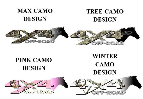 4x4 Off Road CAMOUFLAGE Horse Head Decal Sticker for Truck (PICK 1 CAMO PATTERN)