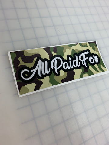 "8"" All Paid For JDM Slap Sticker Decal"