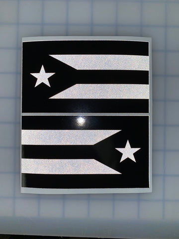 "Puerto Rico Flag (Black/White): 5"" 3M Reflective Decal Stickers (x2)"