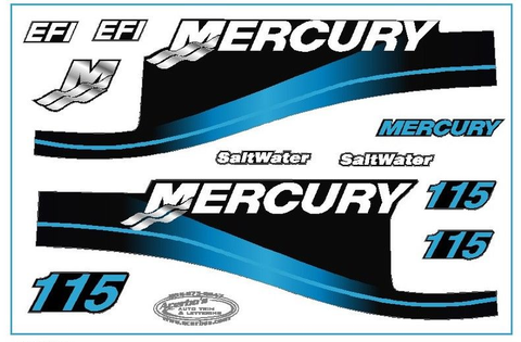 Mercury Blue Saltwater Outboard 115 HP Decal Kit