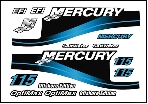 BLUE Replacement Decal Kit for Mercury Outboard Motor w/ OptiMax & Offshore