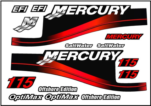Mercury Red Saltwater Outboard 115 HP OptiMax & Offshore Decal Kit