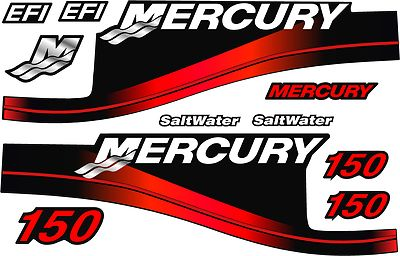 Mercury Red Saltwater Outboard 150 HP Decal Kit
