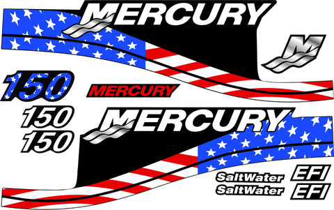 AMERICAN FLAG Replacement Decal Kit for Mercury Outboard Motor