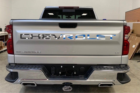 American Flag (BLUE LINE) Tailgate Word Insert Decals for 2019-2021 Chevrolet Silverado Truck