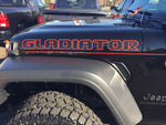 "Fender ""Gladiator"" Red Outline Decal Graphic for Jeep Gladiator (x2)"