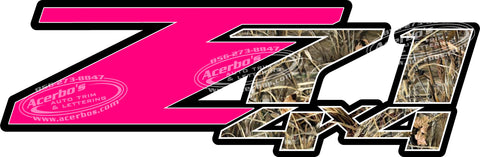 Z71 Off Road 4 x 4 Pink Set of 2 Truck Decals/Stickers