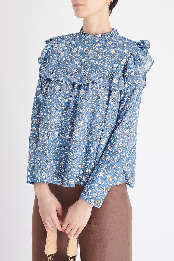 Olivia Top in Blue Floral