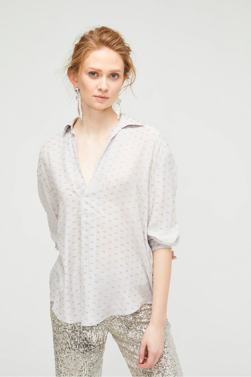 Exquise Metallic Dotted Blouse