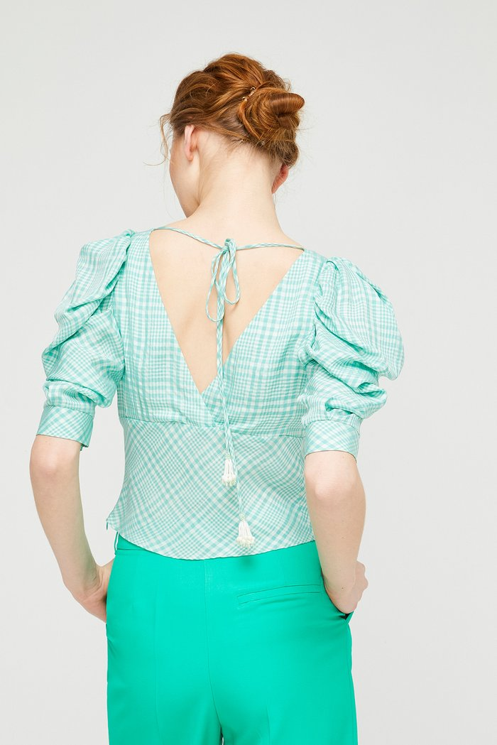 Exquise Pied de Poule Blouse