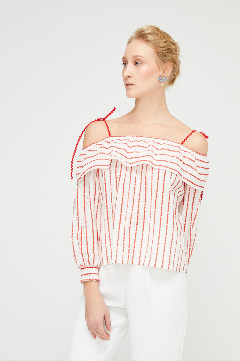 Exquise Red Striped Top
