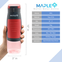 Load image into Gallery viewer, Mapley Red Sport Wallet Water Bottle