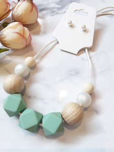"""Lisa"" Sage Green Silicone Necklace"