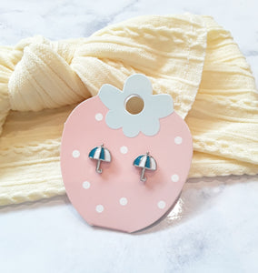 Teal Umbrella Kids Earrings