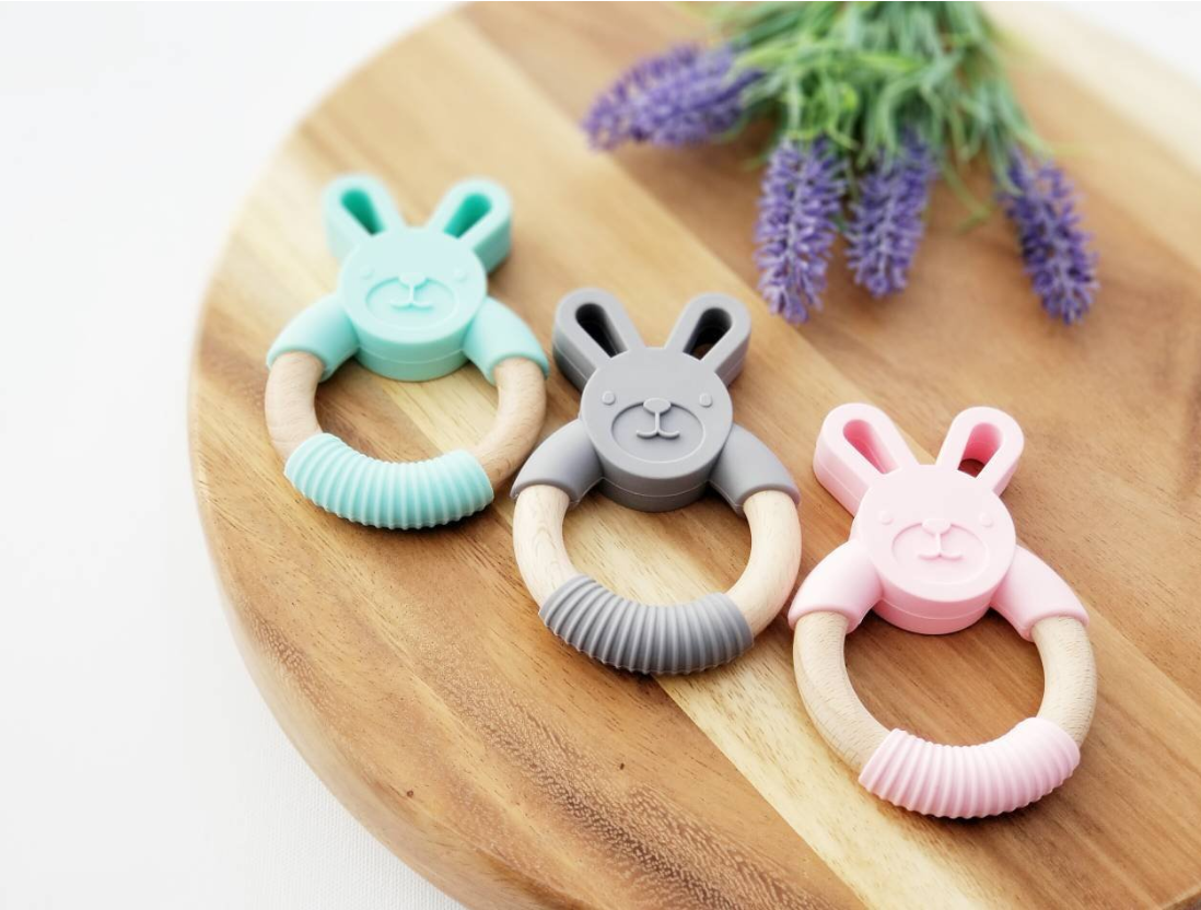 Silicone teething ring - bunny - mint - pink - grey