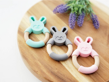 Load image into Gallery viewer, Silicone & Beechwood Bunny Teethers