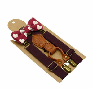 Boys bowtie and braces set - red hearts, brown leather
