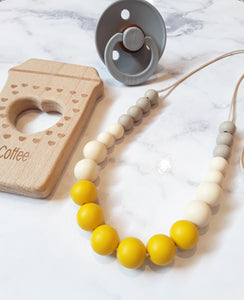 Mustard Silicone & Beechwood Teething Ring