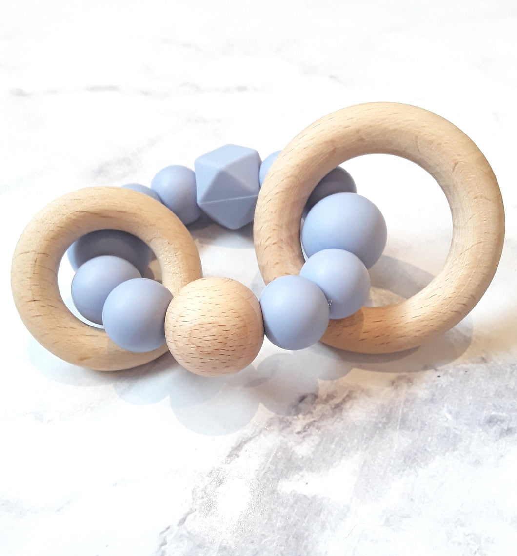 Powder Blue Silicone & Beechwood Teething Rattle