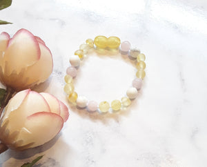 Raw Yellow Amber with Howlite & Pink Semi-Precious Stone Bracelet/Anklet