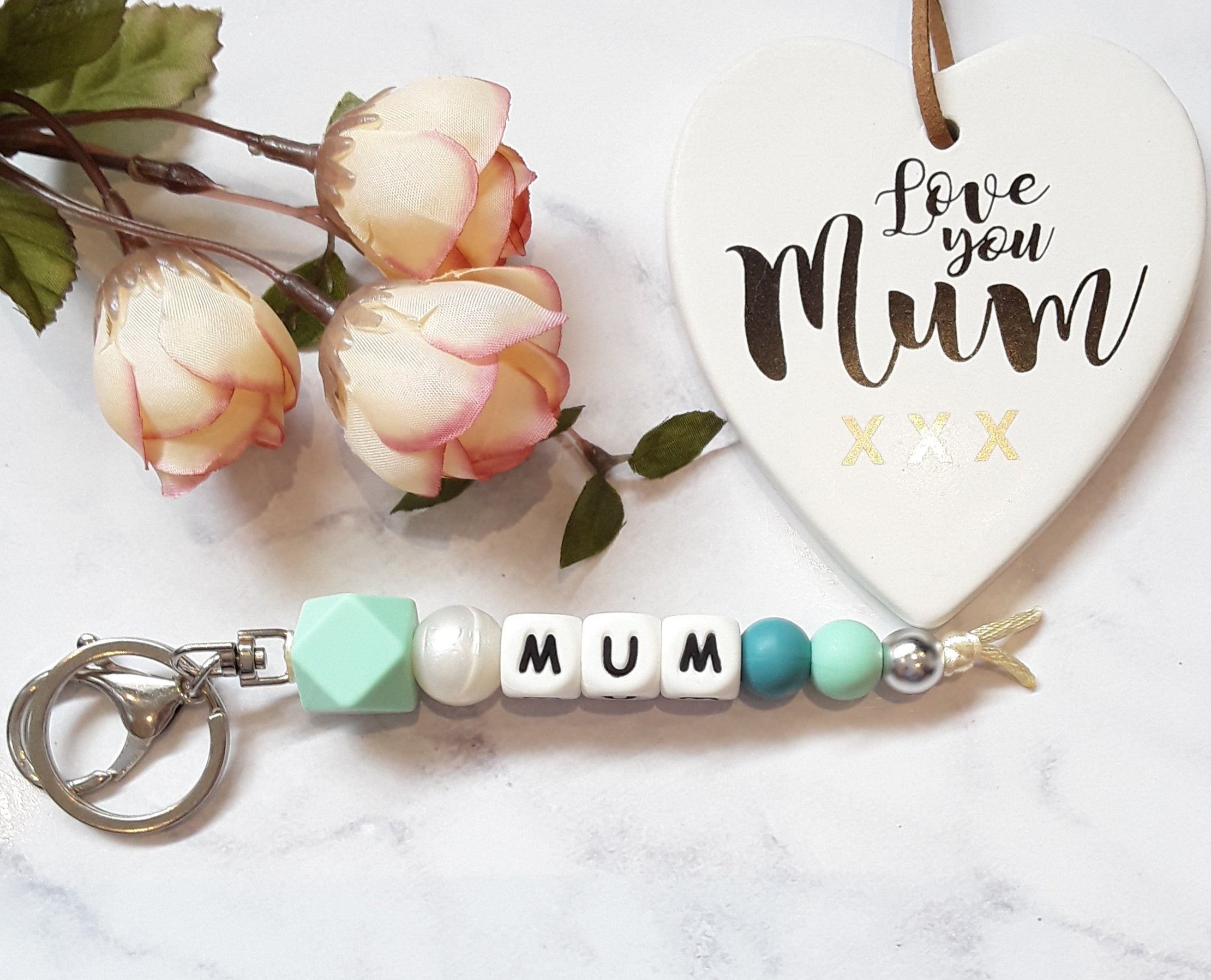 Mum silicone keyring mint green