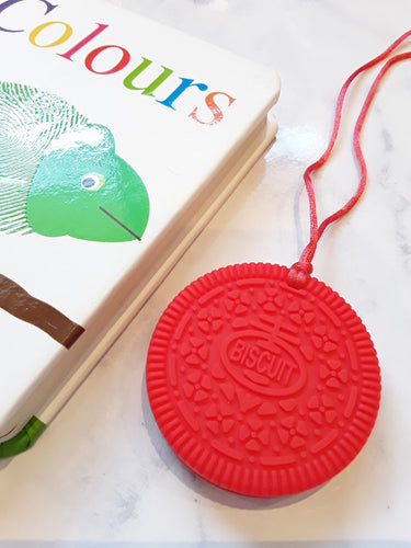 Sensory Chew Biscuit Necklace - Red