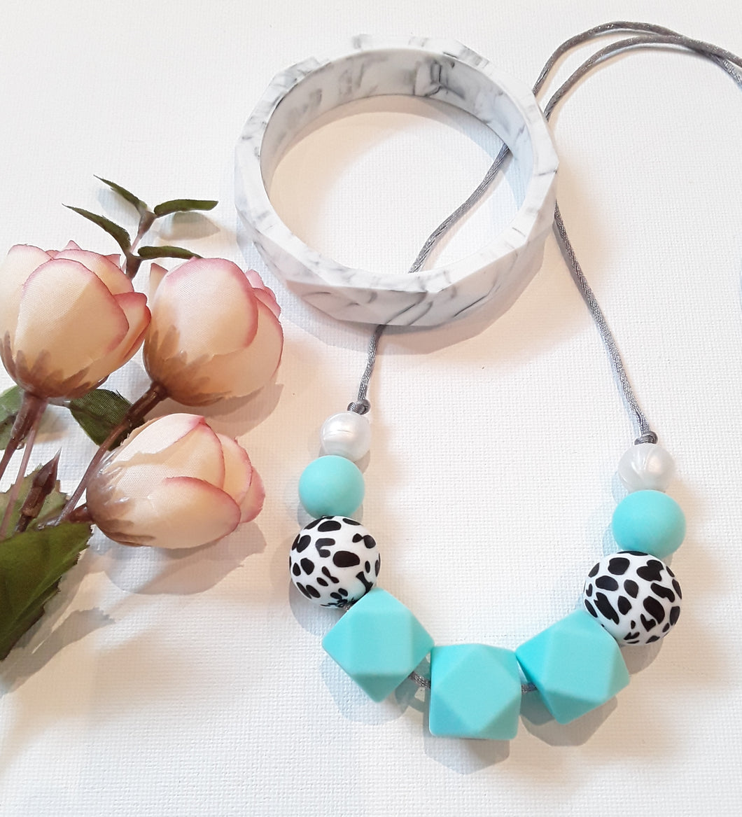 Dalmation Print & Blue Green Silicone Necklace