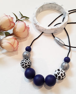 Dalmation Print & Indigo Silicone Necklace
