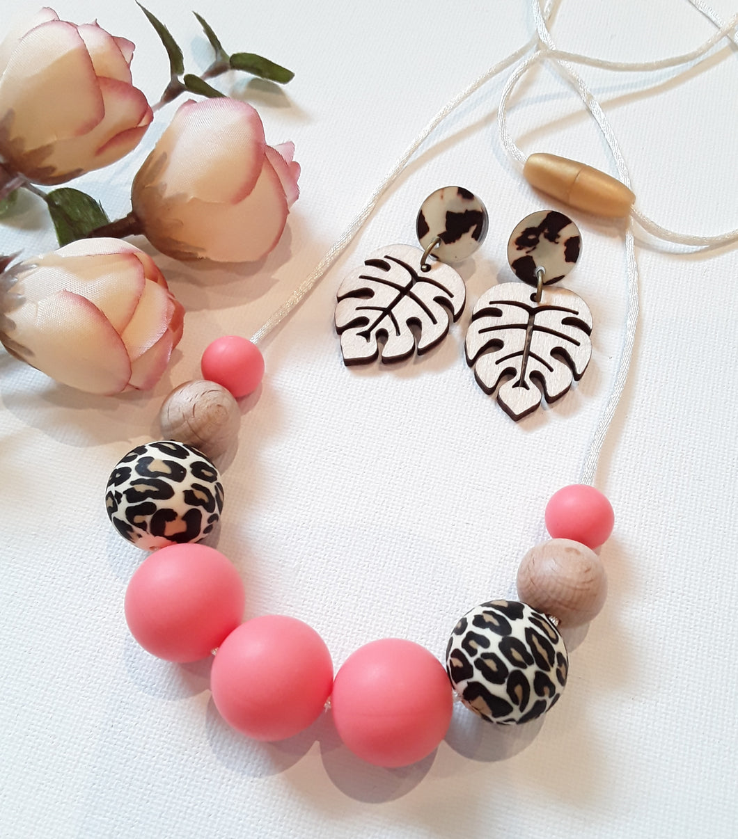 Leopard Print & Watermelon Silicone Necklace