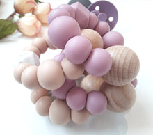 Load image into Gallery viewer, Mauve Mist Silicone & Beechwood Teething Ring