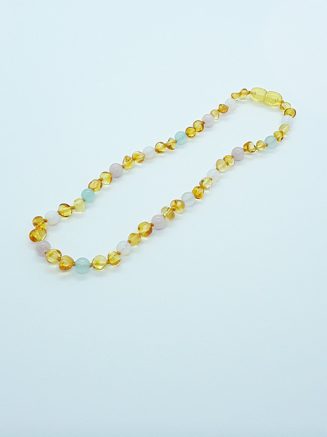 Yellow Amber & Quartz with Pastel Semi-Precious Stones Necklace