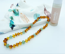 Load image into Gallery viewer, Brown Baltic Amber & Aventurine Babies Necklace